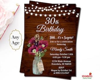 30th birthday invitation for her etsy 30th birthday invitation for her burgundy birthday invitation surprise birthday invites rustic mason jar floral birthday invitation a46 filmwisefo