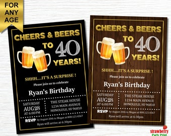 Cheers And Beers To 40 Years 40th Birthday Invitation For Men Beer Chalkboard Wooden A21
