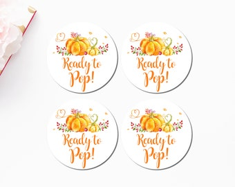 Pumpkin Baby Shower Ready To Pop Stickers Printable Favors Tags Popcorn Labels Cupcake Toppers INSTANT DOWNLOAD C40 C42 C44