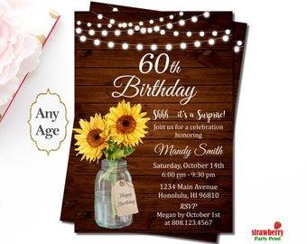 sunflower birthday invitation etsy