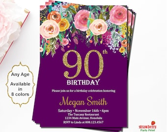 90th Birthday Invitations Party Women Invitation Floral Gold Glitter A15