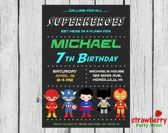 Superhero Birthday Invitation Superheroes Batman Superman Ironman Super Hero Kids Party Invite Digital Printable Custom