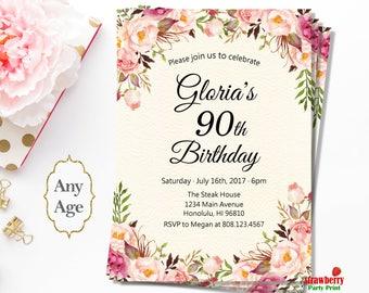 90th birthday invitations etsy 90th birthday invitations for women floral birthday invitation cheers to 90 years a37 filmwisefo