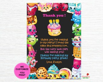 Shopkins Thank You Cards Birthday Notes Printable Party Note File