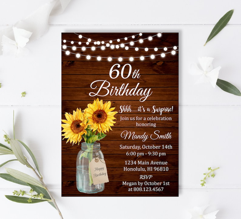 Sunflower Birthday Invitation Floral Invitations For Women Any Age Surprise Custom Printable Invite A70