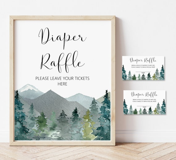 Winter Woodland Baby Shower Printables Instant Download Diaper Raffle Tickets