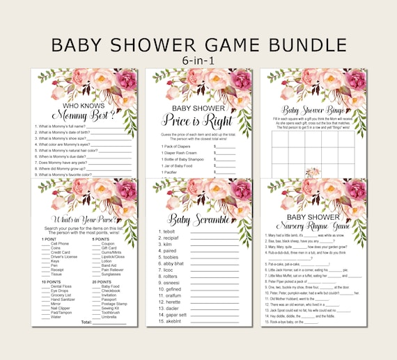 Printable Baby Shower Game Bundle Game Pack DIGITAL FILE Blush Pink Watercolor Flowers Theme Package 6 Games BS145 Instant Download