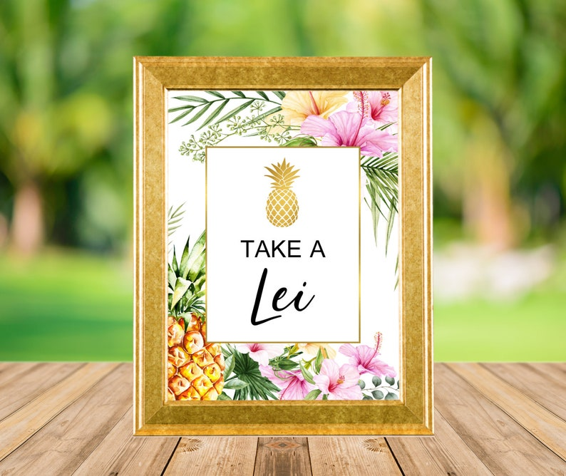 Take A Lei Sign Hawaiian Luau Party Decorations Birthday image 0