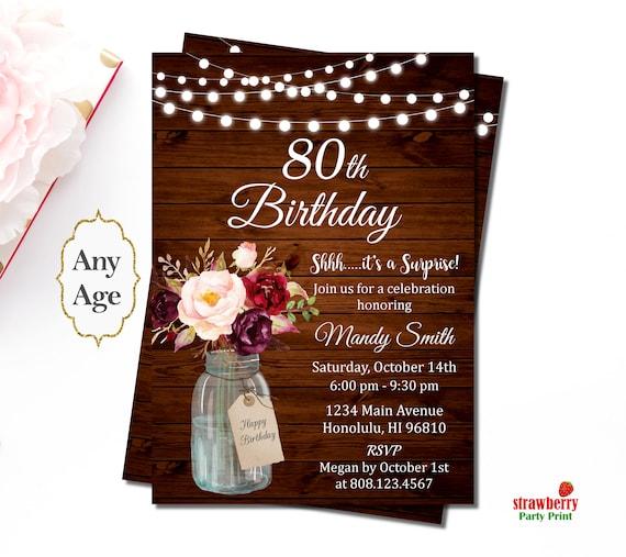 80th Birthday Invitations For Women Rustic Birthday Etsy