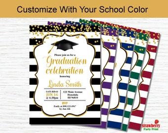 Graduation Party Invitation, Graduation Invitation in Your School Color, Class Of 2018, High School College Grad, Printable Invitation G8