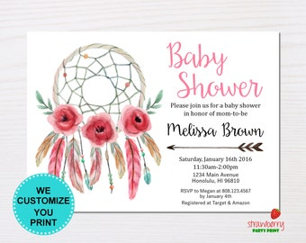 Dreamcatcher Boho Baby Shower Invitation, Feathers Bohemian Tribal Coachella Invite, Custom Digital Printable NOT Instant Download C5