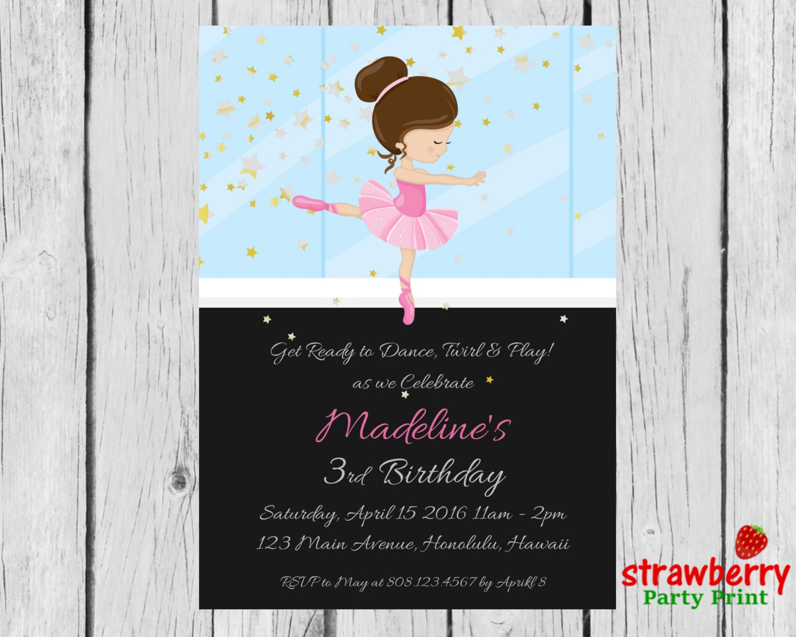 ballerina invitation, ballerina birthday party invitation, ballet birthday invitation, ballerina party invite, party printables