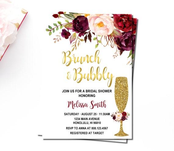 Burgundy Brunch & Bubbly Bridal Shower Invitation Bridal