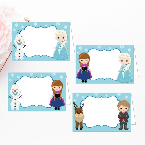 Frozen Food Labels Editable Food Tents Place Cards Name Cards Frozen Birthday Party Printable Digital File