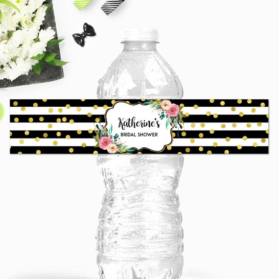 Printable Baby Shower Water Bottle Labels Baby Shower Water Bottle Labels 014 Black White Pink Floral Water Bottle Labels