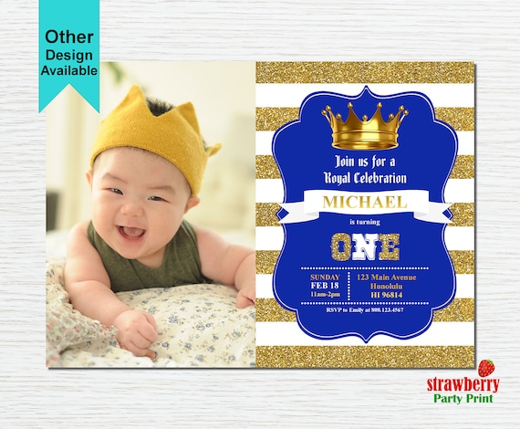 Royal Prince Birthday Invitation With Photo Little Prince Etsy