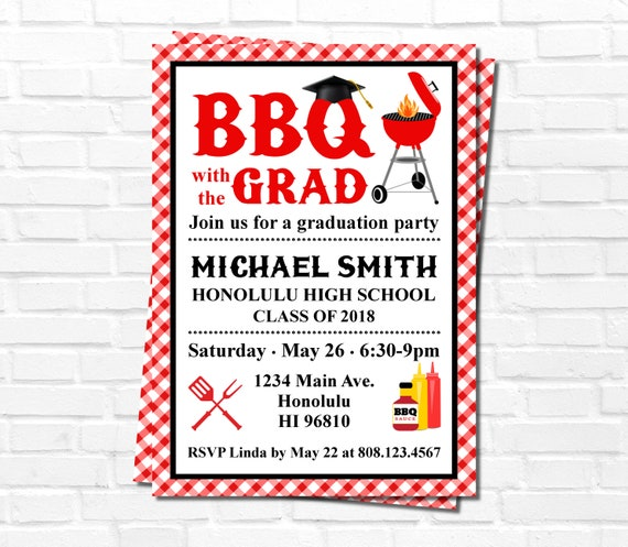 Bbq invitation graduation party invitation barbeque cookout etsy image 0 filmwisefo