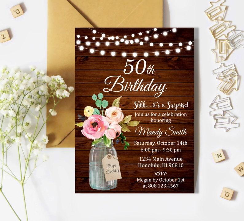 50th Birthday Invitation For Women Surprise