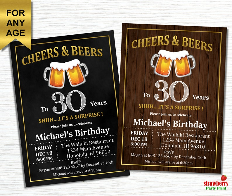 Cheers And Beers To 30 Years 30th Birthday Invitation For