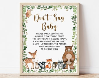 Don't Say Baby Game Woodland Baby Shower Game Greenery Woodland Animals Baby Shower Dont Say Baby Game Sign Printable Instant Download C1