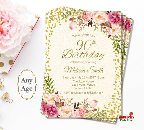 90th birthday invitations for women floral birthday etsy