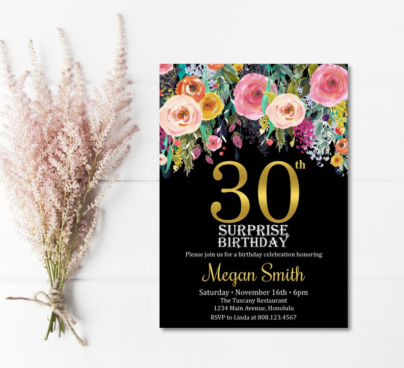 30th Birthday Invitation For Her Surprise