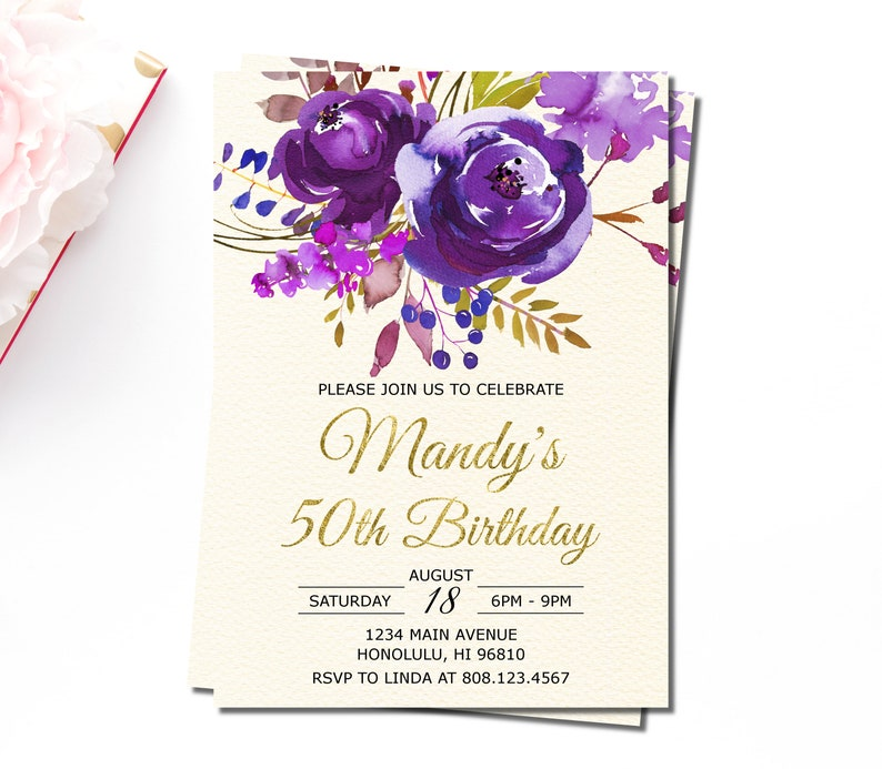 50th Birthday Invitation For Women Purple Floral
