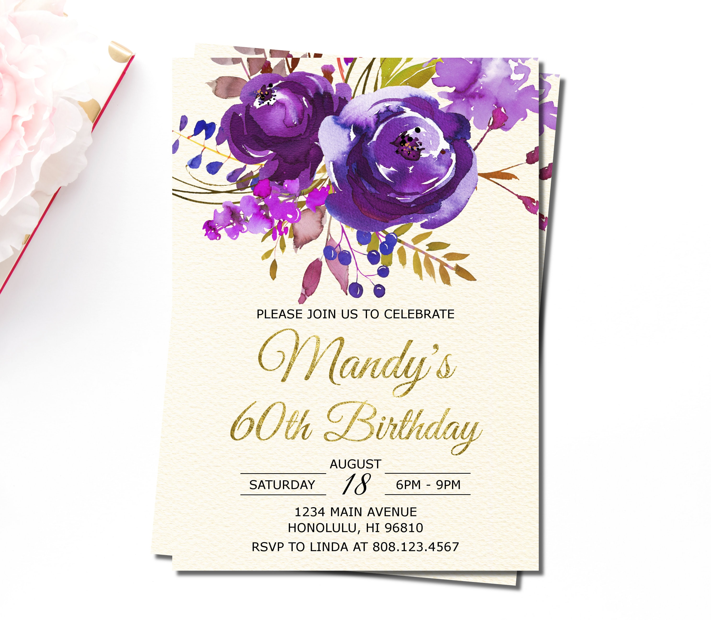 60th Birthday Invitations For Women Sixty And Fabulous