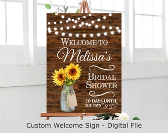 Floral Bridal Shower Welcome Sign Printable Rustic Sunflower Mason Jar Welcome Poster Wedding Countdown Custom Sign Digital File