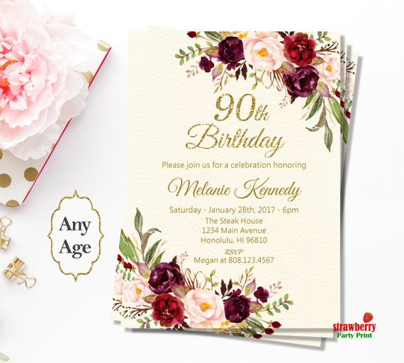 90th Birthday Invitations For Women Red Floral