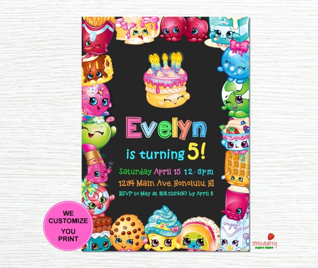Shopkins Birthday Invitation Digital Printable