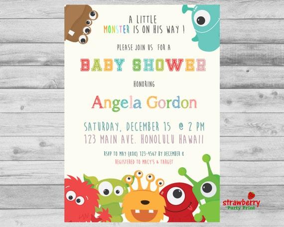 Little Monster Baby Shower Invitation Monster Baby Shower Etsy