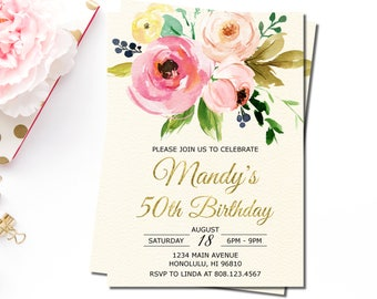 50th Birthday Invitation for Women, Pink Floral Birthday Invitation, Fifty and Fabulous Invitation, Personalized Printable Invitation, A32