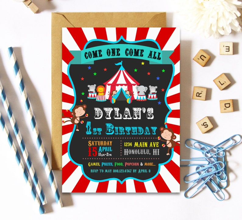 Circus Birthday Invitation 1st Carnival Theme