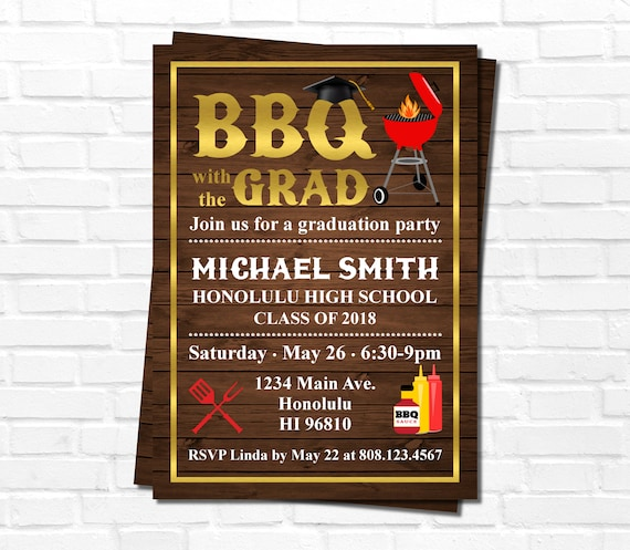 graduation bbq invitation backyard bbq barbeque party etsy