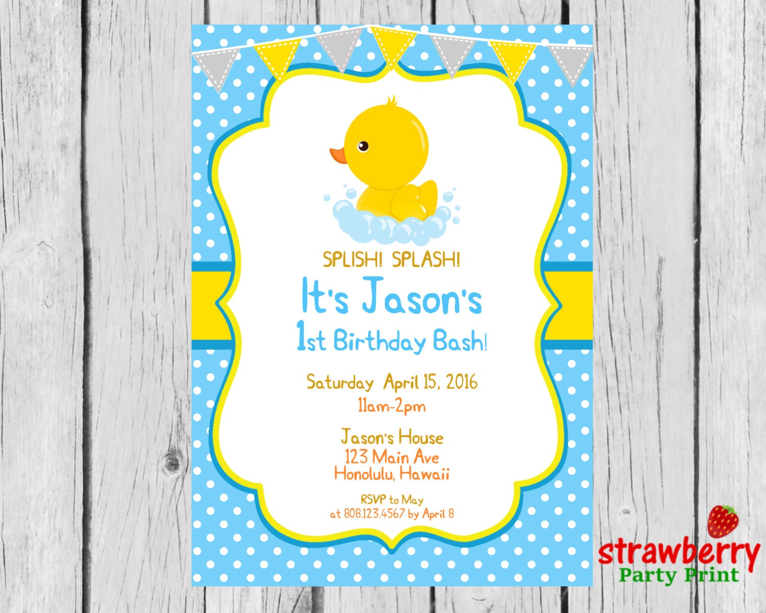 Rubber Duck Birthday Invitation Rubber Ducky First Birthday | Etsy