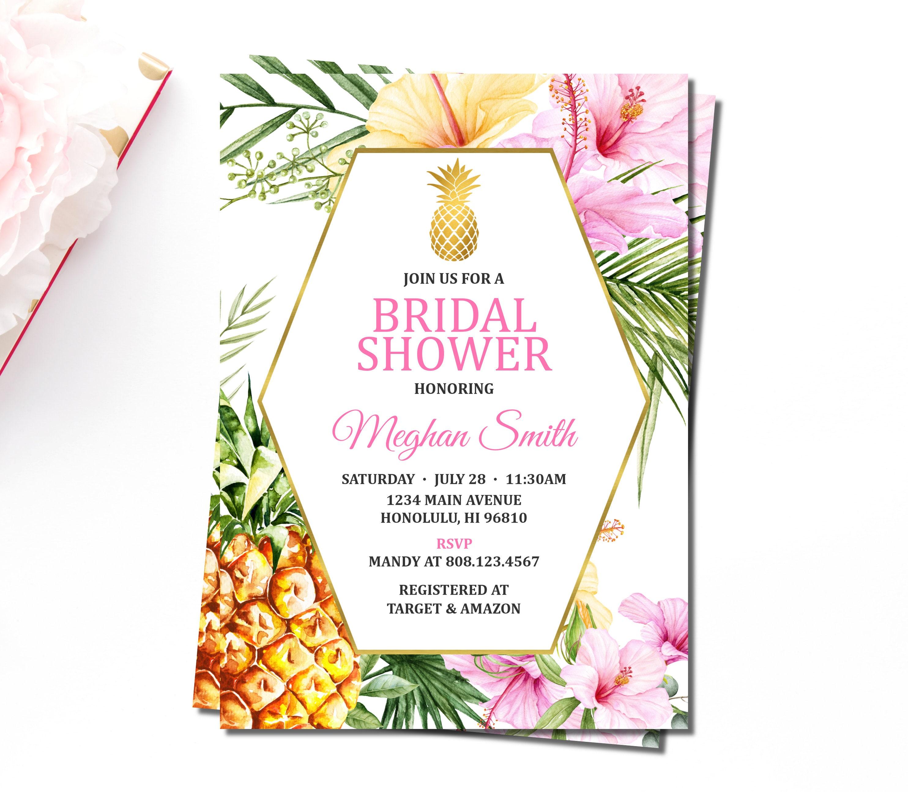 Tropical Bridal Shower Invitation Hawaiian Aloha Luau Summer | Etsy