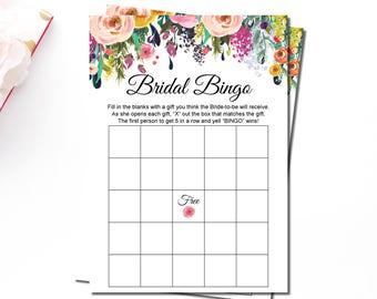 Floral Bridal Shower Bingo Cards, Bridal Bingo Cards Printable, Garden Bridal Shower Games Printable, Blank Bingo Cards Instant Download B14