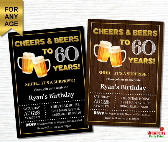 60th Birthday Invitations For Men Cheers And Beers To 60