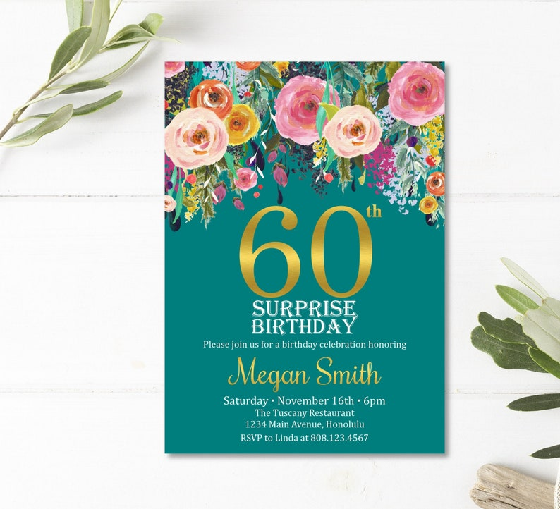 Surprise 60th Birthday Invitations For Women Floral