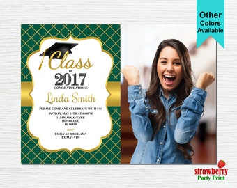 Graduation Party Invitation, Graduation Invitation, 2017 Grad, College Graduation, Green & Gold, Printable Invitation G12