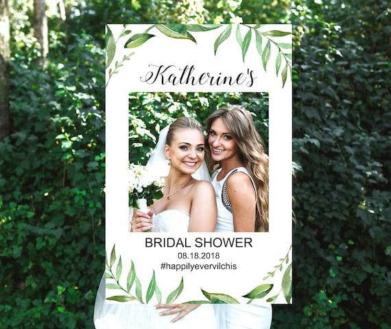 Custom Greenery Bridal Shower Photo Booth Frame Selfie Frame Etsy