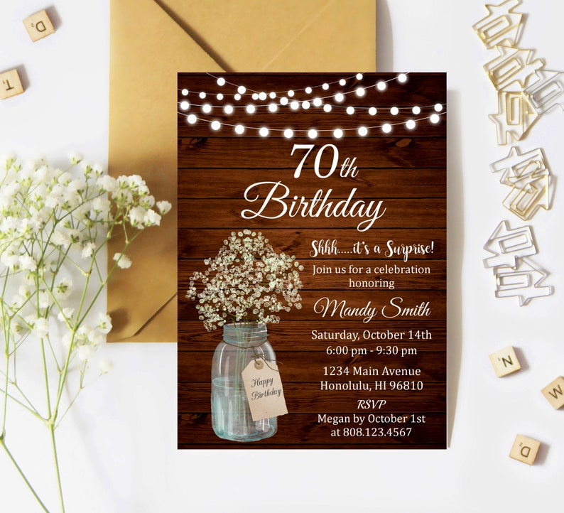 70th Birthday Invitation For Women Surprise Party