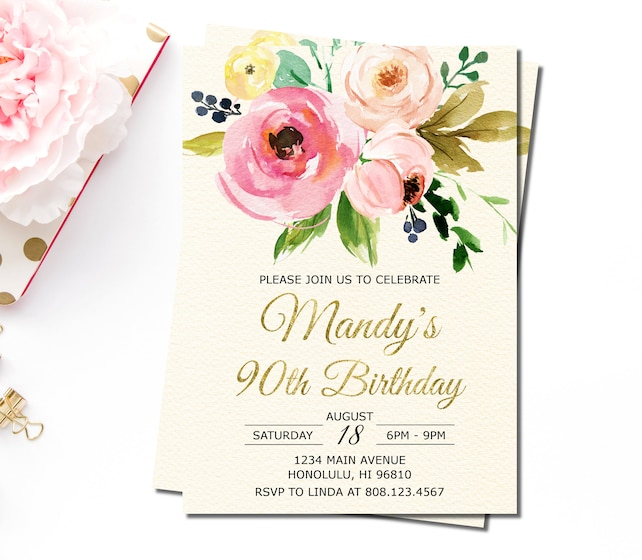 90th birthday invitations for women floral birthday etsy image 0 filmwisefo