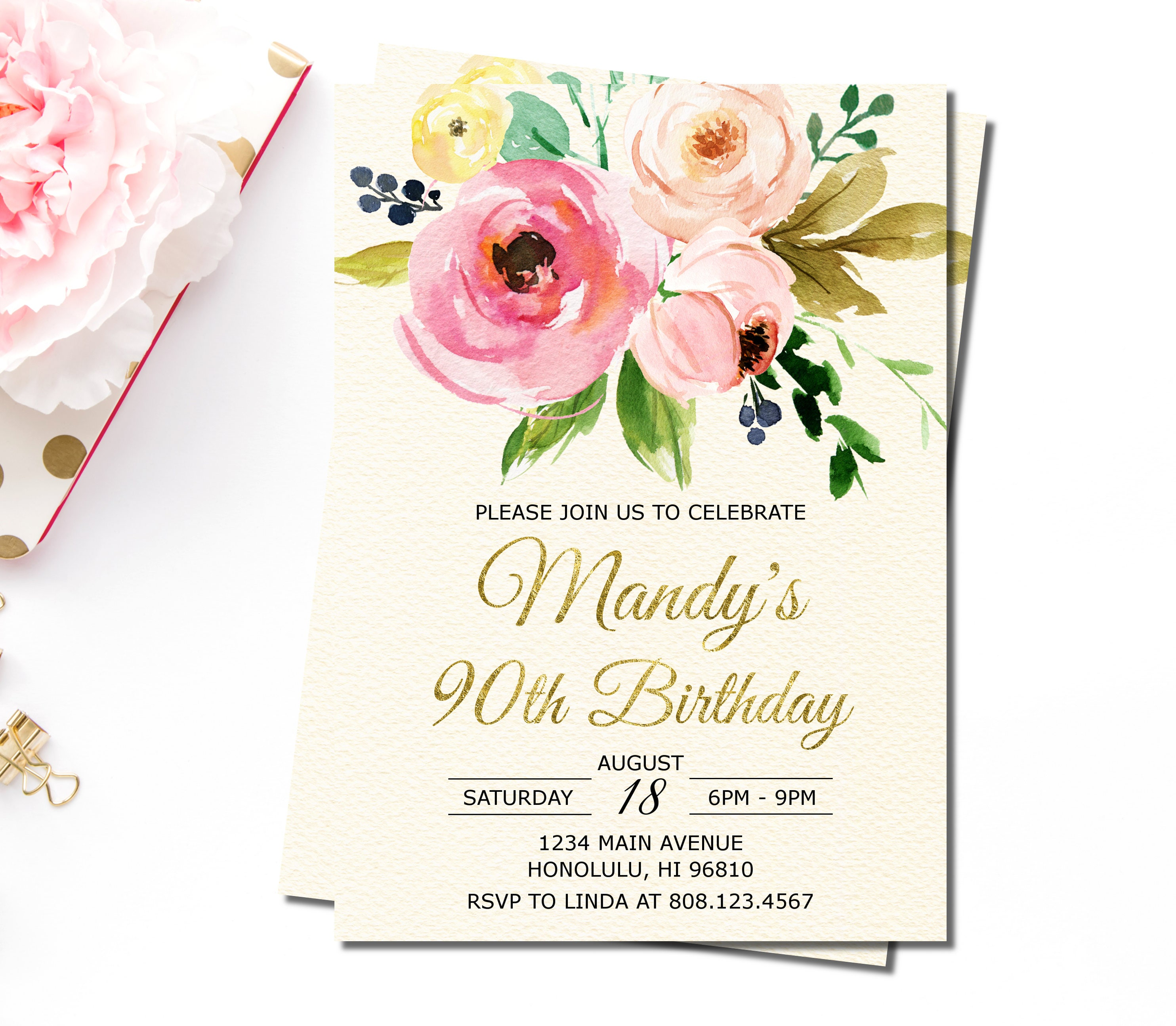 90th Birthday Invitations For Women Floral Birthday Etsy