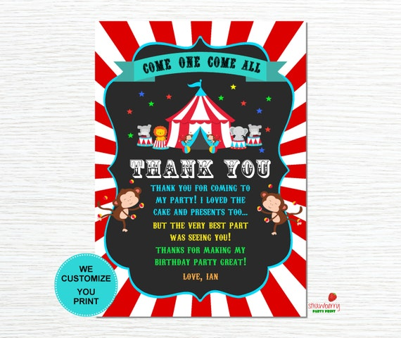 Circus Thank You Card Carnival Thank You Card Thank You Etsy
