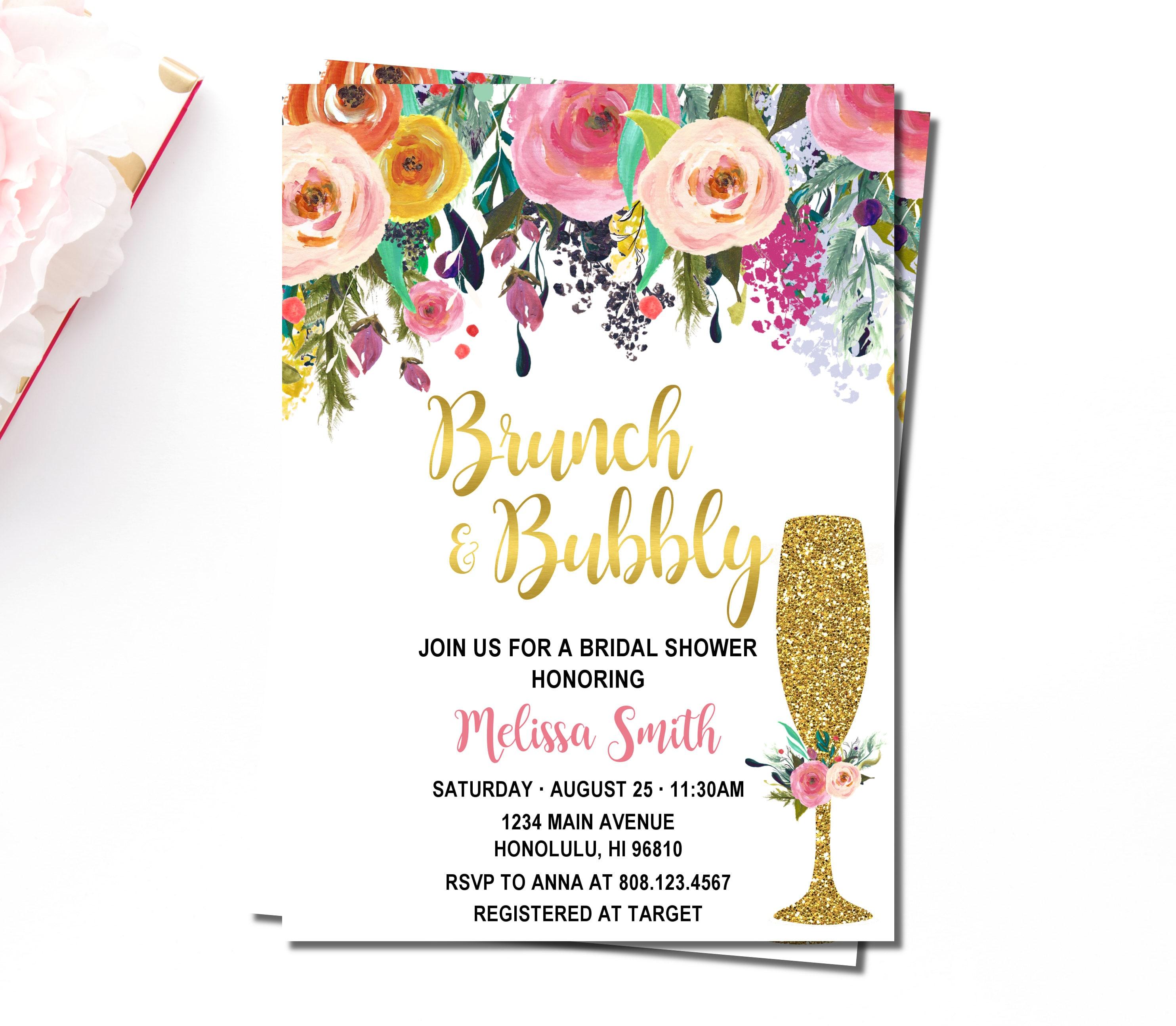 Floral Brunch & Bubbly Bridal Shower Invitation Bridal