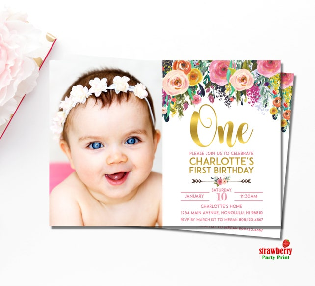 Floral 1st Birthday Invitation Girl First Custom Printable A15