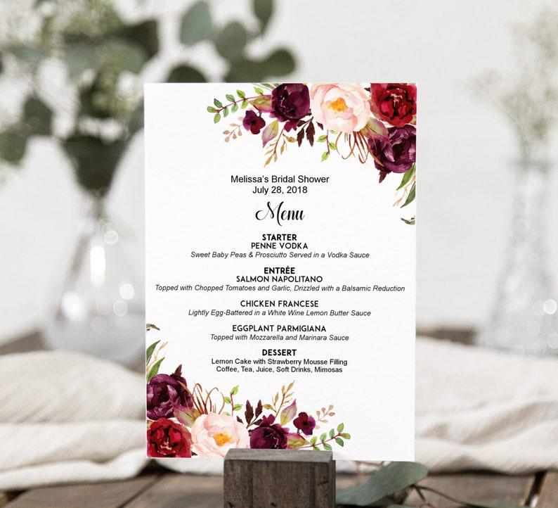Floral Menu Printable Burgundy Menu Boho Wedding Menu Sign Menu Card Personalized Menu A38 B61 C48