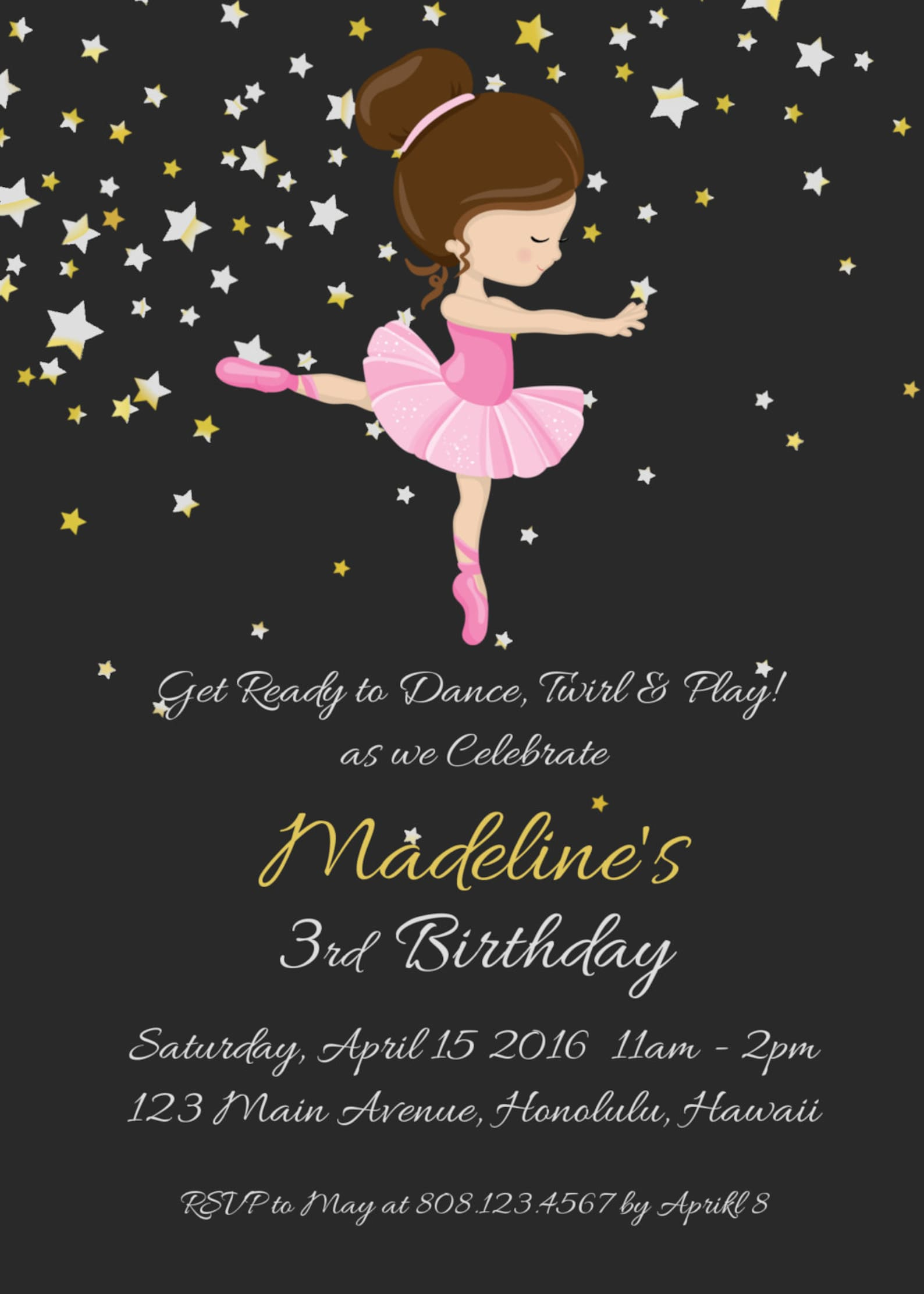 ballerina birthday invitation, ballerina invitation, ballerina party invitation, ballet birthday invitation, custom invitation